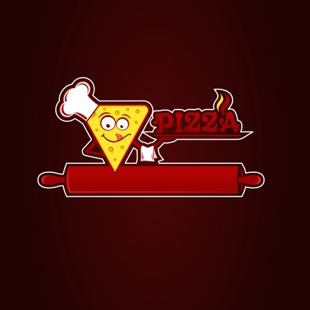 Hunk of pizza, logotype for pizzeria. Vector Illustration. Vector