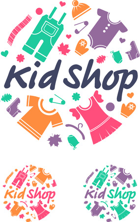 seasonal clothes: Clothes for children. Vector Illustration.