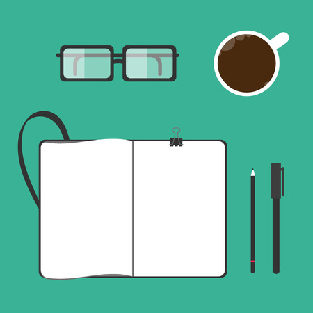 moleskin: Illustration of a cup of coffee, notebook, glasses, pen, pencil