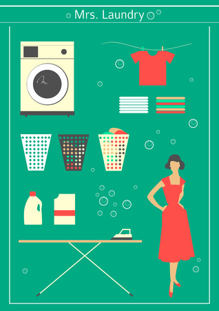 50s housewife engaged in washing Vector