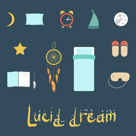 sleepiness: set of simple icons on a theme night of sleep and dreams