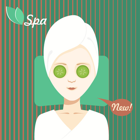 Beautiful girl takes a face mask on spa treatments