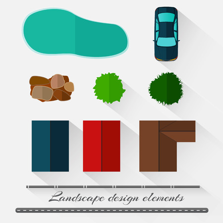 Landscape design elements in a minimalist style with shadows Vector