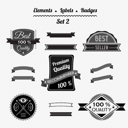 Set elements, labels, ribbons and badges in a retro style