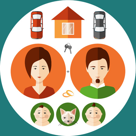 illustration of a young family flat style Vector