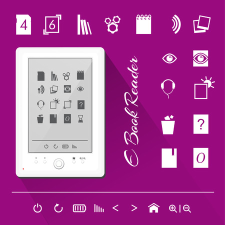 slideshow: Realistic illustration of a white e-book reader with icons Illustration