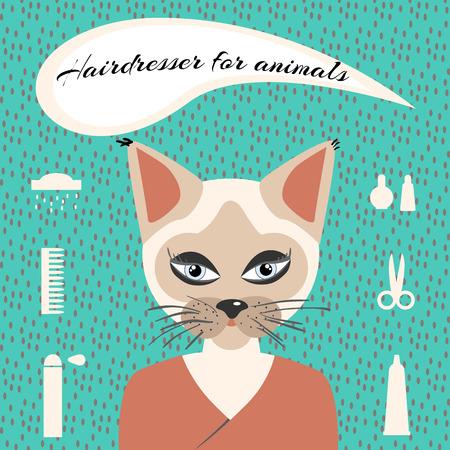 Hairdresser for animals set ikons Vector