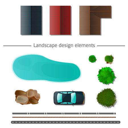arbre paysage: �l�ments de design de paysage de haute qualit� Illustration