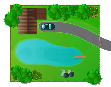lagos: Elementos de dise�o del paisaje de la alta calidad Vectores