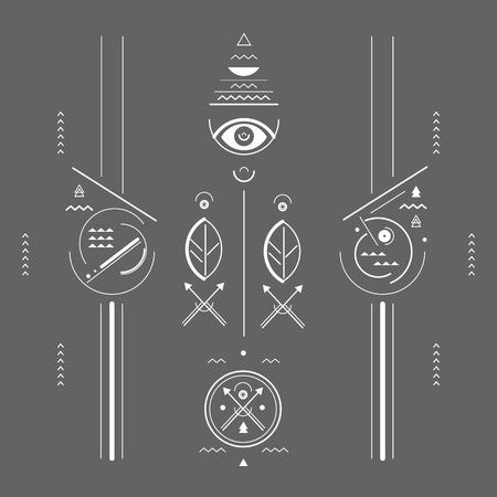 図は幾何学的な様式の神秘的な印  イラスト・ベクター素材