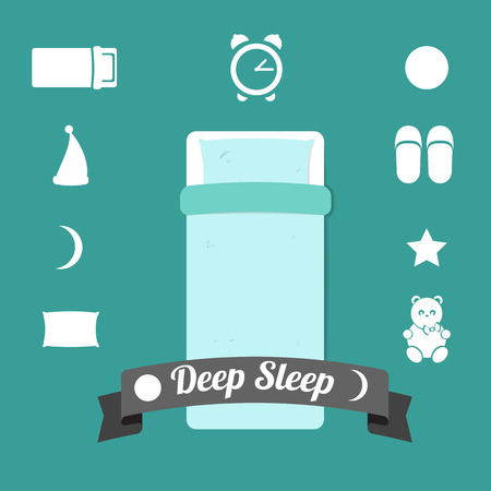 set of simple icons on a theme night of sleep and dreams