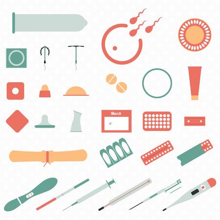 すべての現代的なタイプと避妊法今  イラスト・ベクター素材