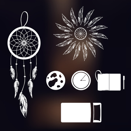 Set of simple icons on a theme of lucid dream and deep sleep on blurred background vector
