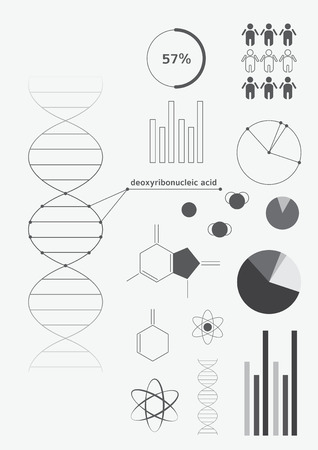 decoding: Infographics deoxyribonucleic acid (DNA), design elements in black and white in the style of minimalism, statistics