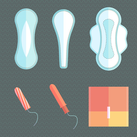 menstruation: Feminine pads and tampons, means a daily personal hygiene  Illustration