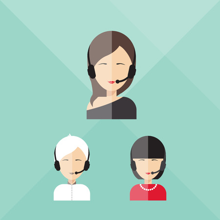 call center icon: Charming girl telephone operator, call center in flat style. Illustration