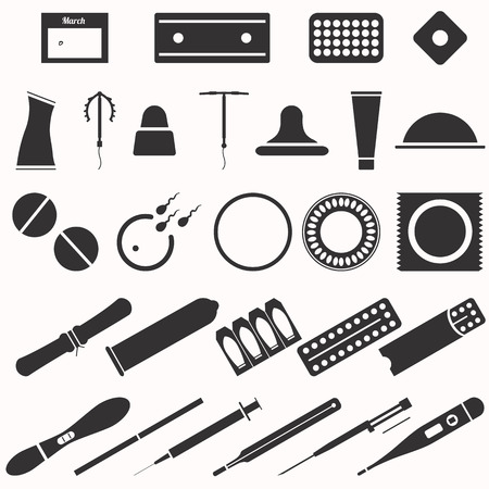 coitus: All modern types and contraception methods. Black and white icons.