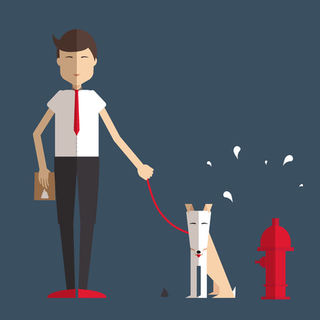 a toilet stool: Young man walking a dog and cleans her flat style.