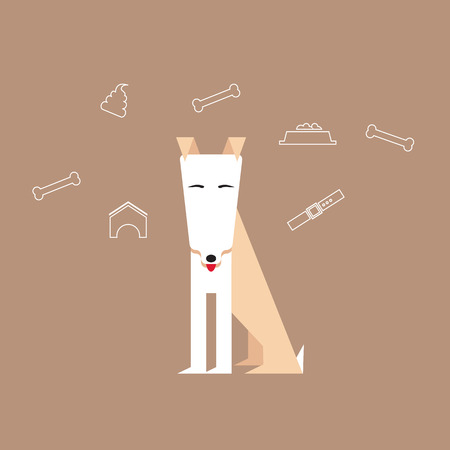 Dog in a flat style with canine icons around.