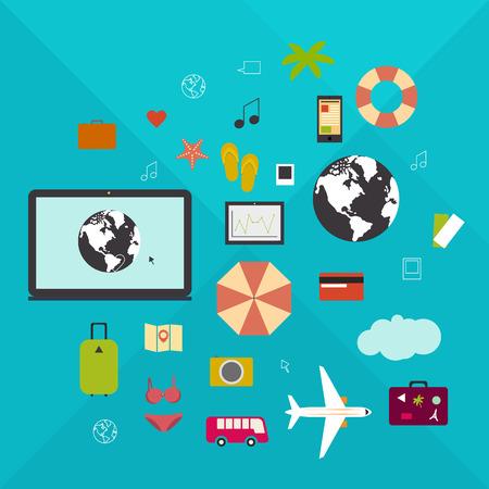 viaje de negocios: Viajes en l�nea, vacaciones, viaje de negocios, la movilidad en un estilo plano. Vectores