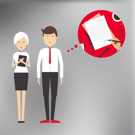 resourcefulness: Successful deal, signing the contract agreement between the parties in a flat style Illustration