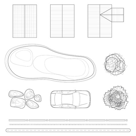 masters of rock: Landscape design elements in a linear style top view
