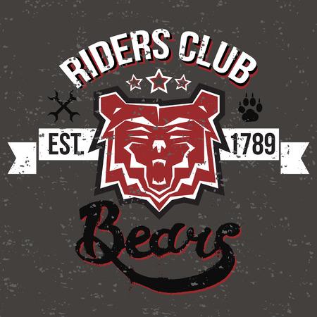 braqueur: R�tro illustration museau ours raider signe de club avec un lettrage, grungy texture et d'autres �l�ments de conception. Illustration