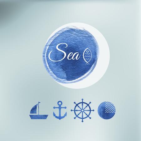 cliche: Elementos de mar del color de agua de dise�o en un fondo indistinto vectorial. Iconos.