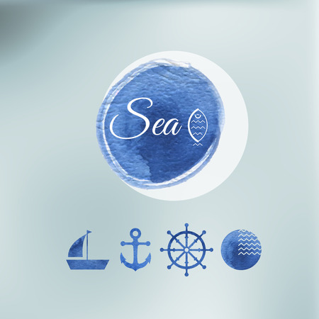 water color: Water color sea elements of design on a vector indistinct background. Icons.
