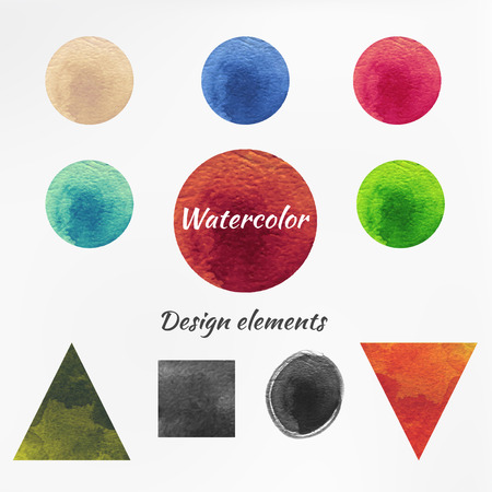 Watercolor figure design elements isolated on blurred background vector.
