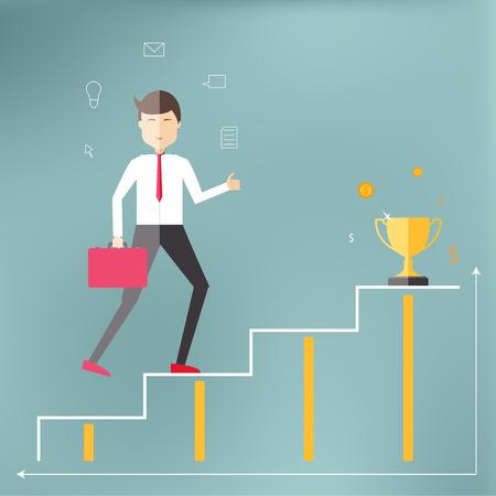 成功と繁栄にキャリアのはしごを若い専門家。フラット スタイルのイラスト