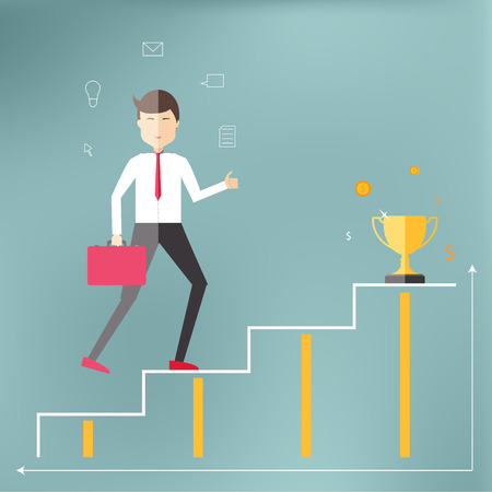qualified: Young professional up the career ladder to success and prosperity. Illustration in a flat style