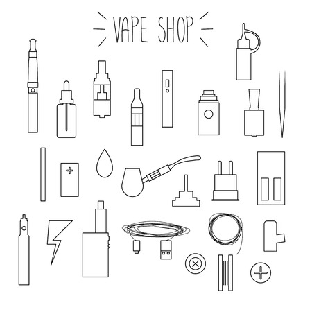 e cigarette: The linear icons on a white background. Vape shop.