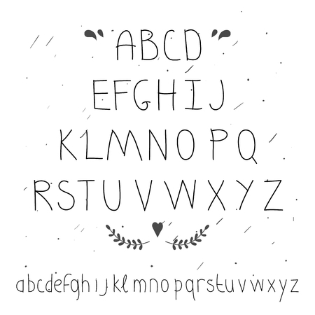 serif: Cute hand drawn letter. Doodle type.Sans serif. Display faces. Uppercase and lowercase letters.