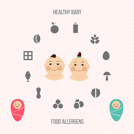 alergenos: Allergens at breast-feeding icons set in color.
