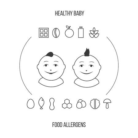 alergenos: Allergens at breast-feeding icons set in thin line style. Vectores