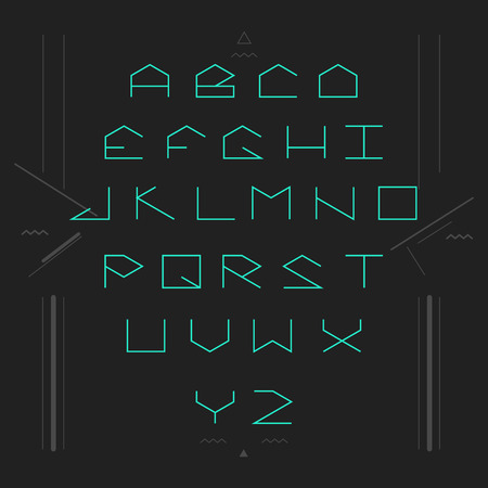 serif: Cyber sans serif lineales geometric font. Monospaced font. Illustration