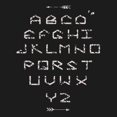 sans serif: Modern sans serif geometric font. Monospaced font. With texture. Illustration