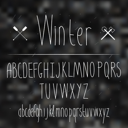 sans: Cute hand drawn letter in the blurred background. Doodle type. Slim. Sans serif. Display faces. Uppercase and lowercase letters. Winter.