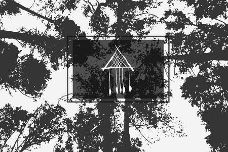 三角形のドリーム キャッチャー、背景テクスチャに。彼の頭の上の木のてっぺん。  イラスト・ベクター素材