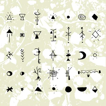 神秘的な記号やシンボル。デザイン要素です。背景にテクスチャ ユニットでグラフィックを描画の手。