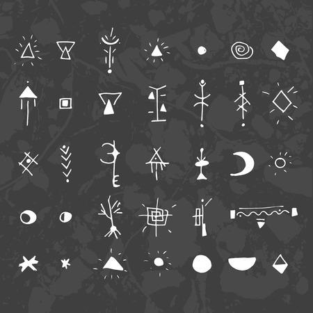 神秘的な記号やシンボル。デザイン要素です。暗い背景にテクスチャ ユニットのグラフィック。