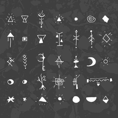 The mystical signs and symbols. Design elements. graphics with texture units on a dark background.