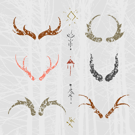 Set of horns in  style with mystical signs. Colored design elements on texture background.