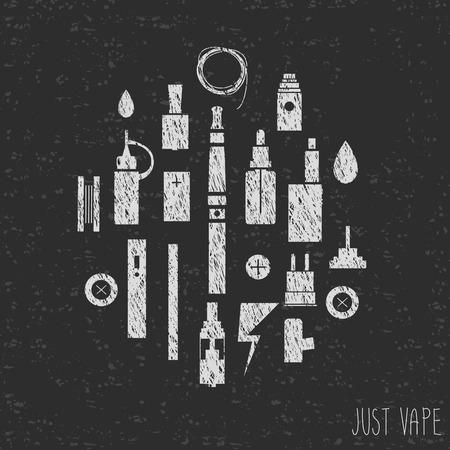 eliquid: Just vape. Icons vape. graphics. Silhouette. Texture Illustration