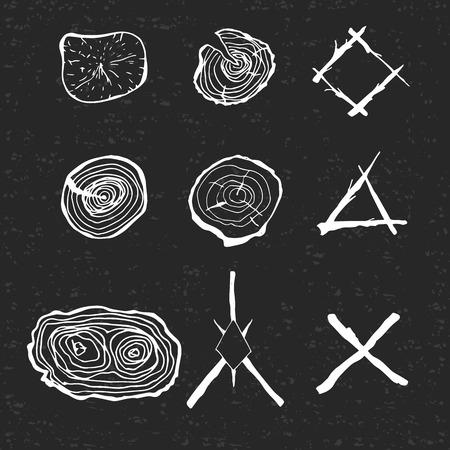 年輪の要素とスタイルで枝の構成を設計します。テクスチャを黒の背景。