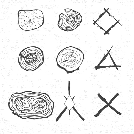 年輪の要素とスタイルで枝の構成を設計します。テクスチャと白い背景。