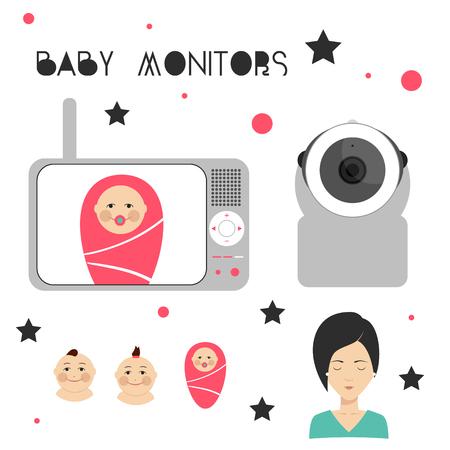 ベビー モニターは、母と子の要素をデザインします。