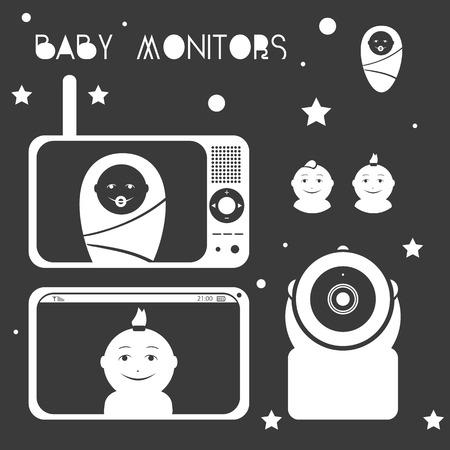 ベビー モニターは、母と子のデザイン要素をシルエットします。