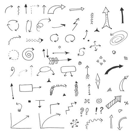 矢印円とデザインを書く抽象的な落書きのベクトルのセット